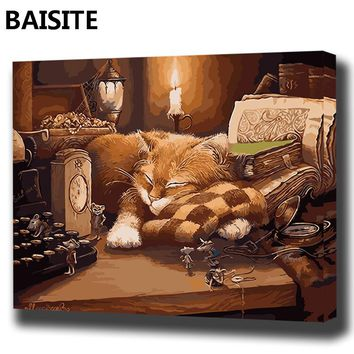 BAISITE DIY Framed Oil Painting By Numbers Landscape Pictures Canvas Painting For Living Room Wall Art Home Decor E876