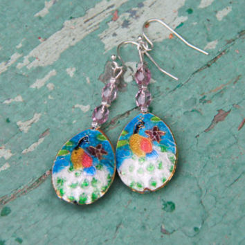 Green Cloisonne Earrings,Chinese Cloisonne Earrings, Cloisonne earrings,Hand Made Asian Cloisonne Earrings, Asian jewelry, Chinese Earrings.