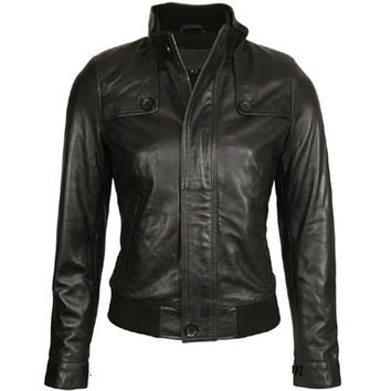 Handmade Men black leather jacket with front zipper