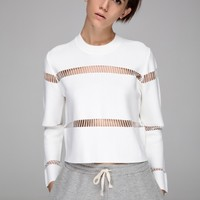 Crop top with mesh stripes - FrontRowShop