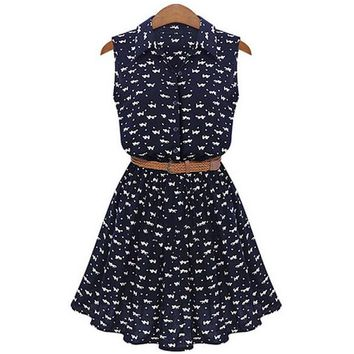 Floral A-line Print Lapel Collar Sundress with Belt Dress