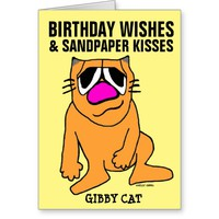 Gibby Cat sitting Birthday Greeting cards, Funny Greeting Card