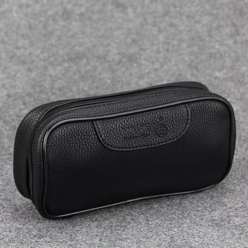 New Smoking Pipe Bag Black Leather Smoking Pouch Vauen Tobacco Pipe Case Tobacco Pouch Smoking Bag