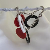 Vintage Bracelet with Lucite Circles Red White and Black