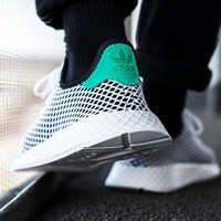Adidas Deerupt Running Shoes Runner Trifolium Mesh Sneakers B-CSXY White Surface With Green Tail