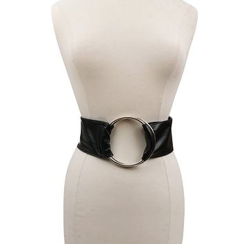 Black Vegan Leather Wide Belt with Silver Ring