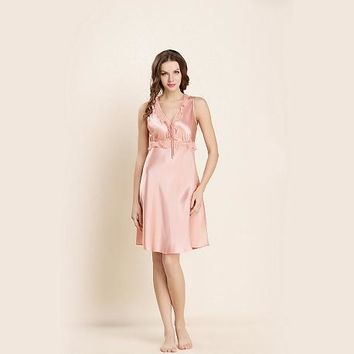 19MM Short Silk NIghtgown With Cute Flounces