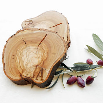 Olive Wood Coasters, Rustic Wooden Coasters, Handmade Drink Coasters Set of 2, Tree Slices, Wood Slices, Pair Of Personalized Wood Coasters