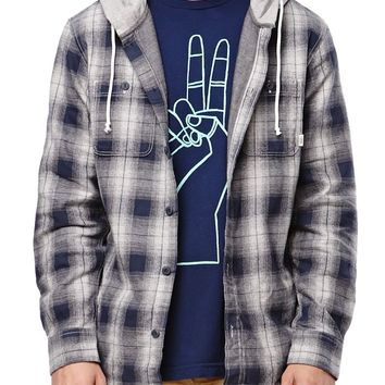 Vans Lopes Hooded Flannel Shirt - Mens Shirts - Blue