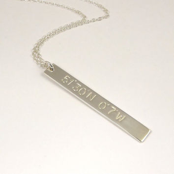 Coordinate necklace, longitude latitude necklace, sterling silver bar necklace, coordinate jewellery, hand stamped necklace