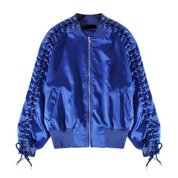 Autumn Bomber Jacket Coat Female Criss-Cross Lace up Long Sleeve Jackets for Women Casual Clothes
