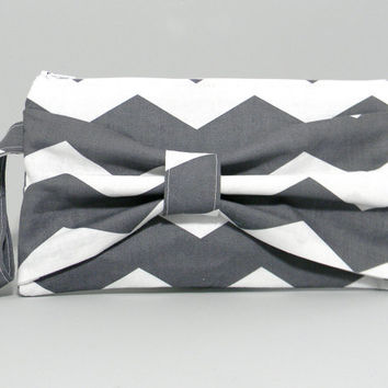 Bow Clutch Purse - Grey White Chevron Stripes - Teal Satin Lining - Cosmetic Bag