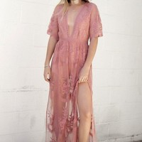 Gemma Rose Peach Lace Maxi Dress