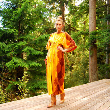Here Comes The Sun 70s Terry Cloth Dress, Velour Sunshine Maxi Dress One Size Beach Caftan Kaftan Yellow Orange Psychedelic Lounge Vacation
