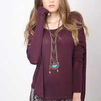 Gab & Kate Drop Back Knit Top - Berry