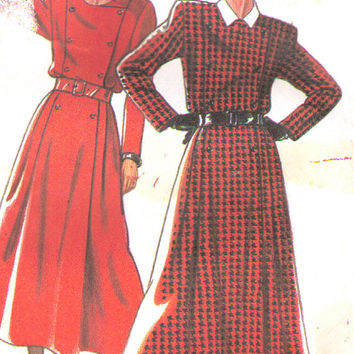 Designer Dress Pattern, New Look 6914, Vintage Dress Pattern with Full Skirt and Double Breasted Bodice 8 to 18, Uncut