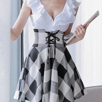White Preppy Style Checkered Lace-Up Dress
