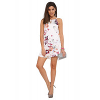 Floral Halter Back-Tying Sleeveless Mini Dress