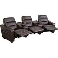 BT-70380-3-BRN-GG 3-Seat Reclining Brown Theater Seating Unit