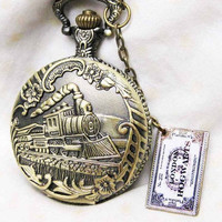 HOGWARTS EXPRESS----Harry Potter Locomotive Pocketwatch with train ticket