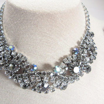 Smoky Rhinestone Cluster Necklace and Earrings Vintage Jewelry Set