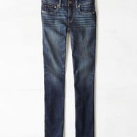 AEO Women's Straight Jean (Worn Dark)
