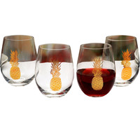 15-oz Gold Pineapple Glass S/4