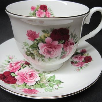 Summertime Pink English Bone China Tea Cups Set of 2