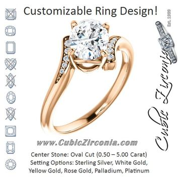 Cubic Zirconia Engagement Ring- The Aina Svanhild (Customizable 11-stone Oval Cut Design with Bypass Channel Accents)