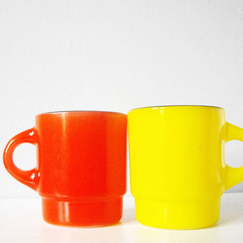 Neon yellow red vintage cup pair - two Fire King mugs