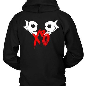 The Weeknd Logo Xo Kisses Red Hoodie Two Sided