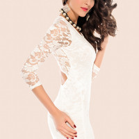White Long Sleeves Lace Dress with Back Cut -Out