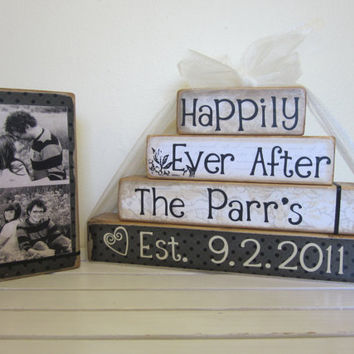 Personalized Happily Ever After wooden blocks for by FayesAttic11