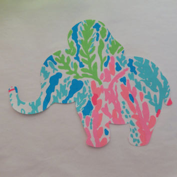 New Made To Order Elephant Pillow made with Lilly Pulitzer Lets Cha Cha fabric