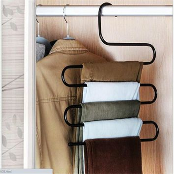 S-type Multi-function Magic Pants Hanging Pants Hanger Hanging Pants Rack  Hanging Rack Multilayer Clip Storage 5 Layers Saving