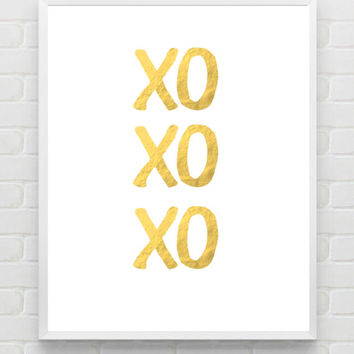 XOXO, Gold Foil Print, Typographic Print, Faux Gold Foil Wall Art, Typography, Dorm Decor, Home Decor