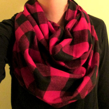 Red & Black Checkered, Flannel, Handmade, Infinity Scarf