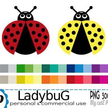 Ladybug - Clipart - 30 PNG files - 300 dpi - Instant download - Transparent PNG - Graphic design, scrapbooking - CA27