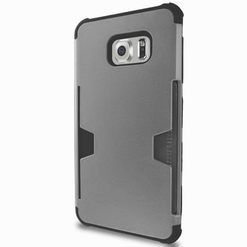 Samsung Galaxy S6 Edge Plus [Impact/Shock Resistant] Hybrid Dual Layer Armor Case w/ Card Slot for Galaxy S6 Edge Plus - Silver