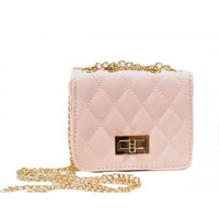 Coco Mini Quilted Cross Body Bag in Light Pink