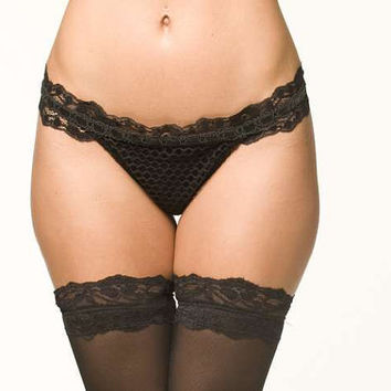 Black Lingerie Panties - Back Tie Thong - Medium