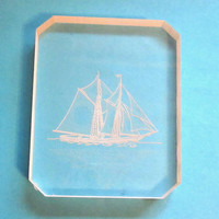 Vintage Clear Lucite Plastic Ship Carving, Nautical Art