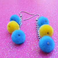 Pom Pom Earrings - Blue Yellow Pompom Earrings - Pom Pom Dangle Earrings - Fiber Textile Earrings - Fuzzy Soft Earrings