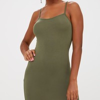 Basic Khaki Strappy Bodycon Dress