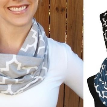 Chic Quatrefoil Infinity Scarves-8 Colors-Perfect Gameday & Holiday Gifts!