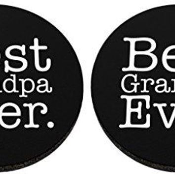 Best Grandpa Ever Coaster Fathers Day Gift 2 Pack Round Rubber Drink Cup Coasters Black
