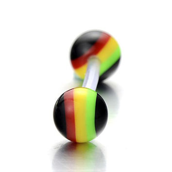 Silicone Rainbow Stripes Tongue Rings Barbells 16 Gauge Body Piercing Jewelry