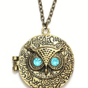 Owl Locket Necklace Vintage Retro Gold Tone Antique Crystal Animal Charm NF10 Fashion Jewelry