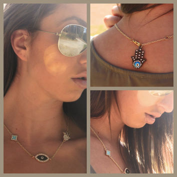 Evil Eye, Islamic Hamsa Hands of Fatima, and 14k Gold Turquoise and Rhinestone Clover Three Piece Charm Necklace with Evil Eye Back Charm