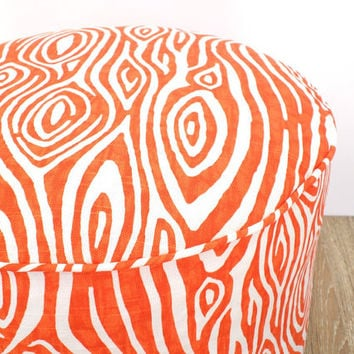 Orange pouf ottoman dorm room decor, animal print round floor pillow, orange bean bag chair, zebra print pouffe modern home decor